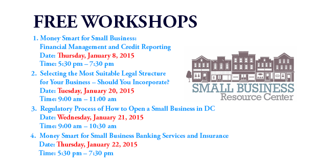 Small Business Resource Center Free Workshops for January 2015