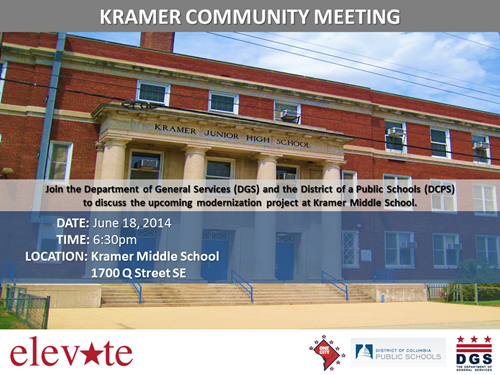 Kramer MIddle School Project Community Meeting June 18, 2014 Flyer(Download an accessible version, below)