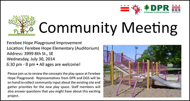 Ferebee Hope Playground Improvement Community Meeting July 30, 2014
