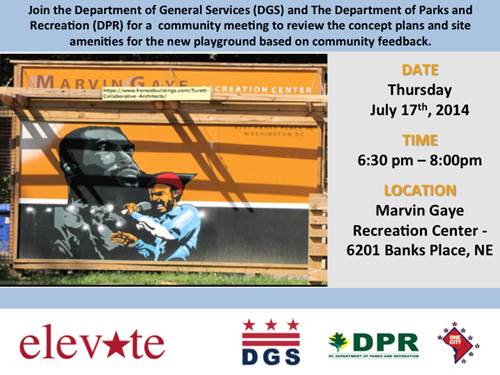 Marvin Gaye Community Meeting July 17, 2014 flyer (Download an accessible version, below)
