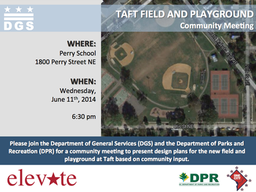 Taft Field and Playground Community Meeting Flyer June 11, 2014 - Download the attachment below to view the accessible version of this flyer.