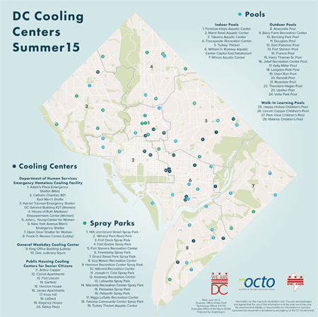 DC Cooling Center Map 2015
