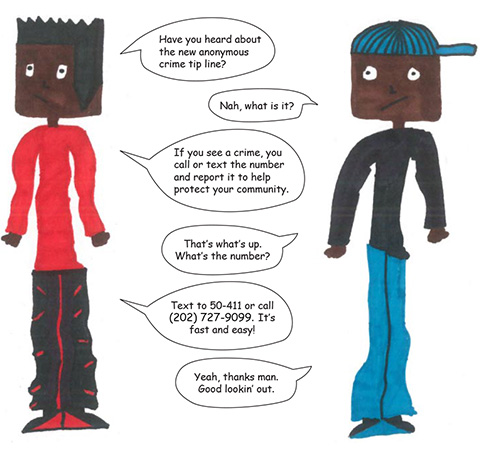 Cartoon Showing kids talking about using 50-411
