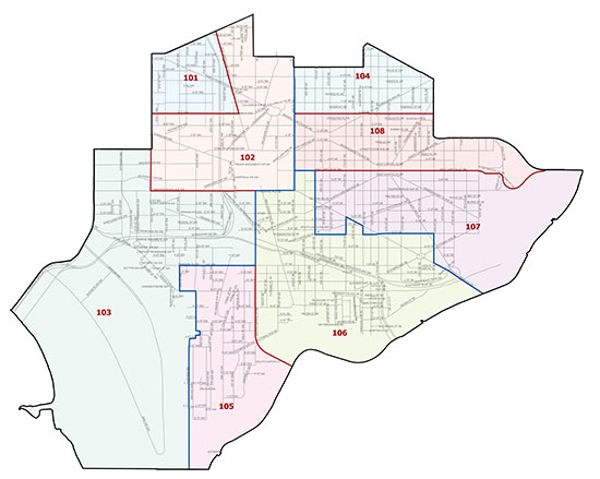 Overview map of the First Police District (Washington, DC)