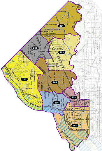 Overview map of the Second Police District (Washington, DC)