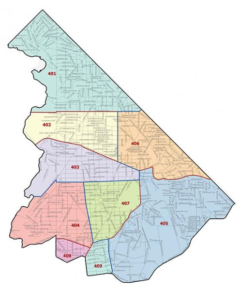 Overview map of the Fourth Police District (Washington, DC)