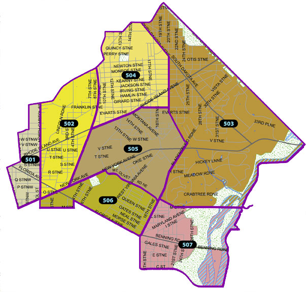 Overview map of the Fifth Police District (Washington, DC)