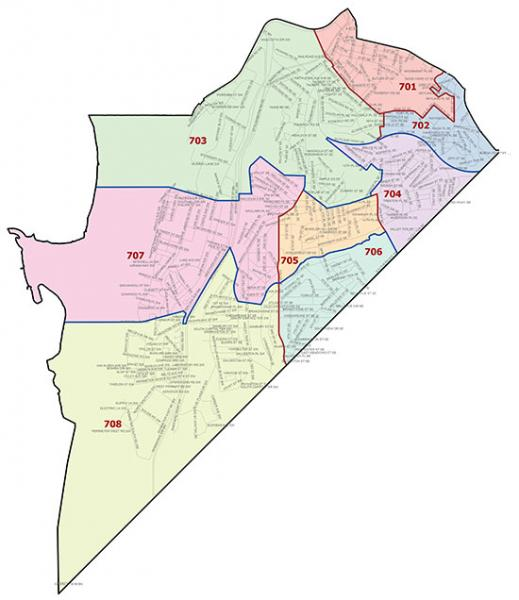 Overview map of the Seventh Police District (Washington, DC)