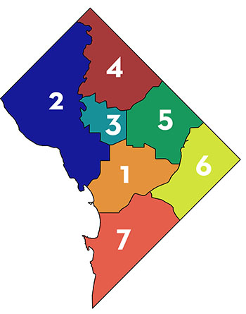 Map of Police Districts in DC
