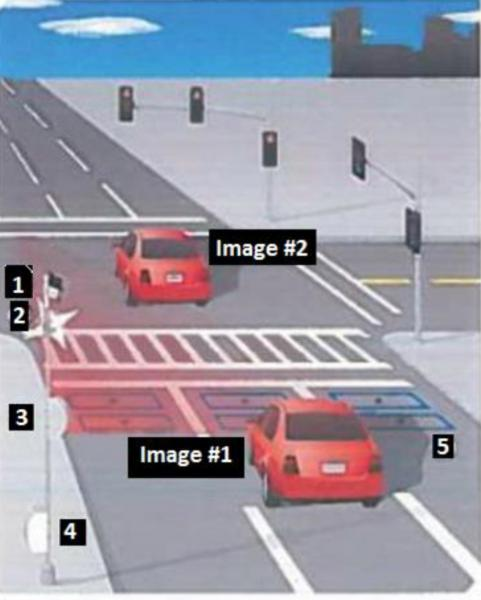 Image #1: The 1st Image Records The Vehicle Behind The Violation Point  While The Light Is Red