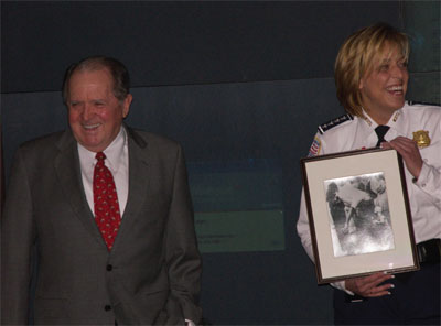 Chief Maurice Cullinane and Chief Lanier with a famous photo of Cullinane from 1957.