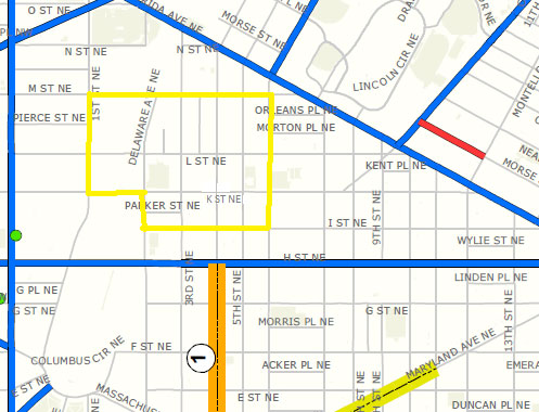 Map of the First District - 1100 block of 4th Street, NE