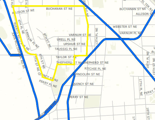 Map of the 5th District - 1200 block of Taylor Street, NE