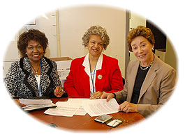 From left to right, Elsie Taylor, Mary Sanford and Suzanne Legault