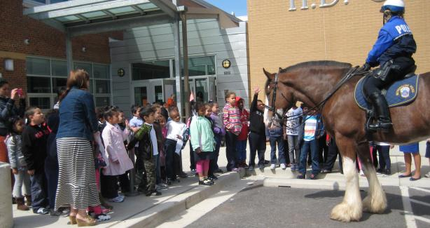 Horse Mounted Unit visits HD Cooke Elementary School