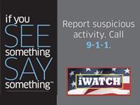 "graphic of ""see something, say something"" and iwatch logo"
