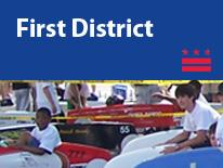 First District (small header flag with community image)
