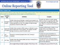 Citizens Online Reporting Tool (screenshot)
