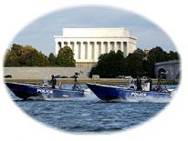photo of harbor patrol boats in front of Lincoln memorial